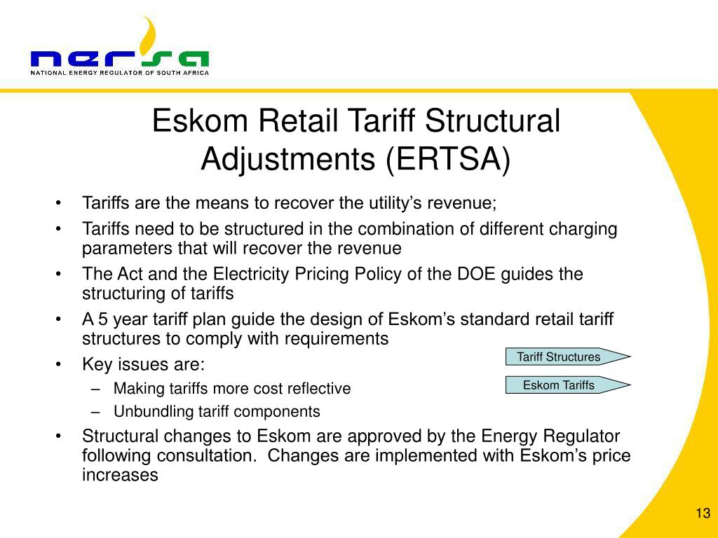 Eskom Retail Tariff Structural Adjustments (ERTSA)