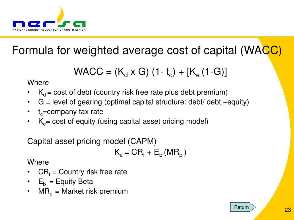 Formula for weighted average cost of capital (WACC)