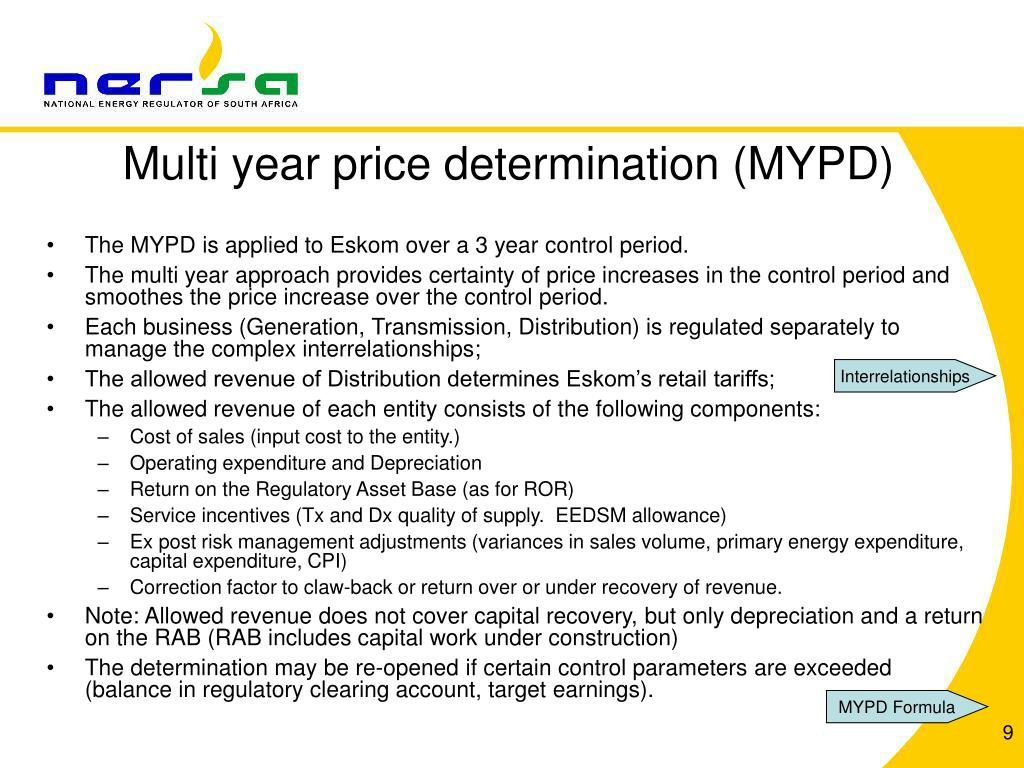Multi year price determination (MYPD)