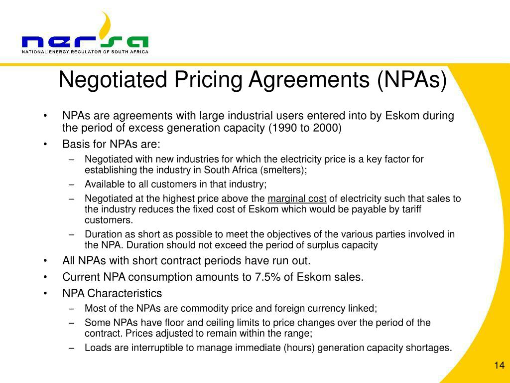 Negotiated Pricing Agreements (NPAs)