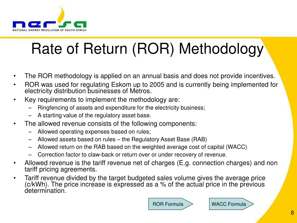 Rate of Return (ROR) Methodology