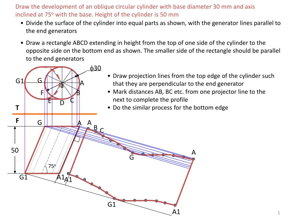 Draw the development of an oblique circular cylinder with base diameter 30 mm and axis inclined at 75