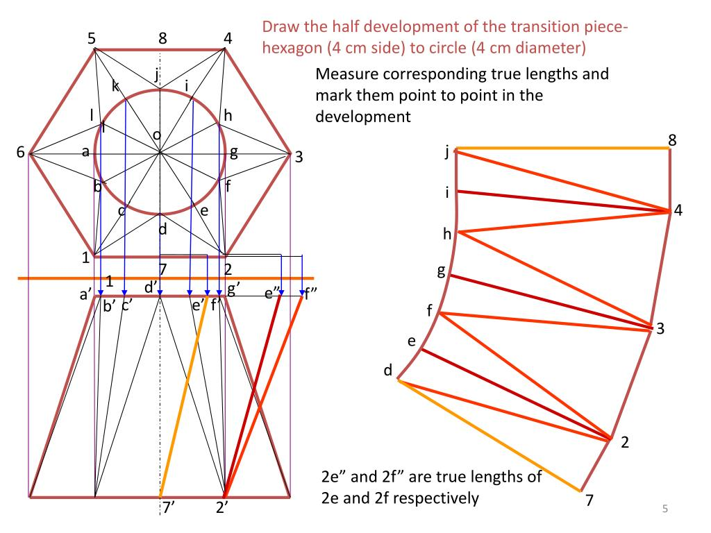 Draw the half development of the transition piece- hexagon (4 cm side) to circle (4 cm diameter)
