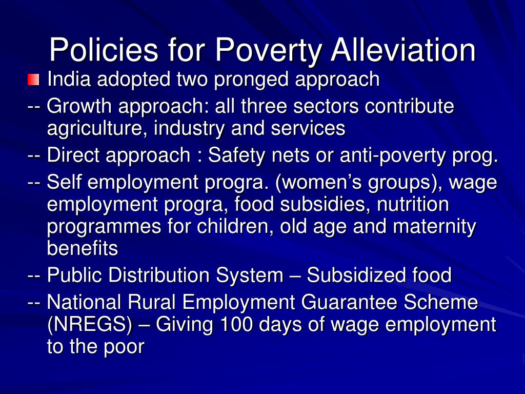 Policies for Poverty Alleviation