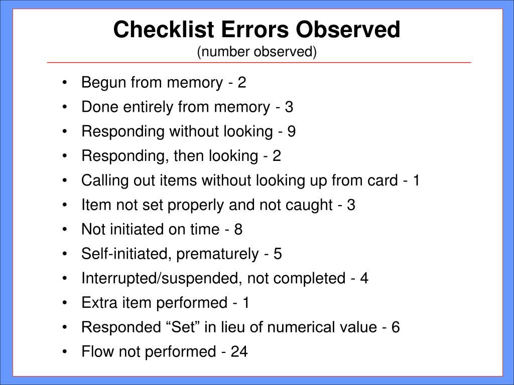 Checklist Errors Observed