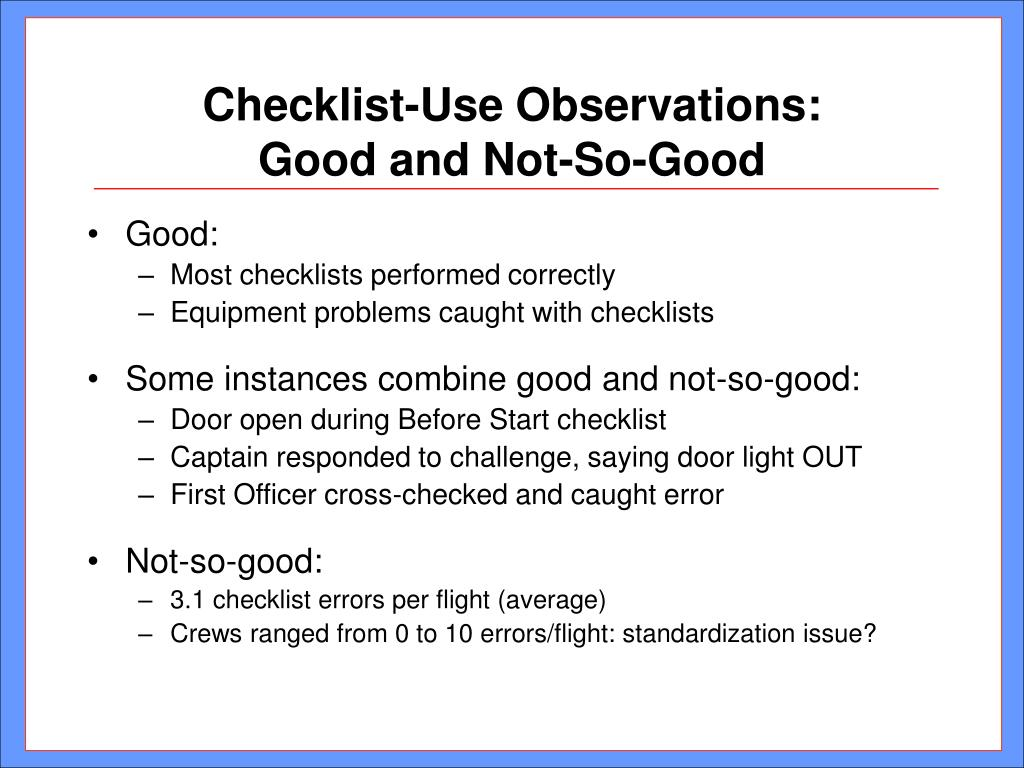 Checklist-Use Observations: