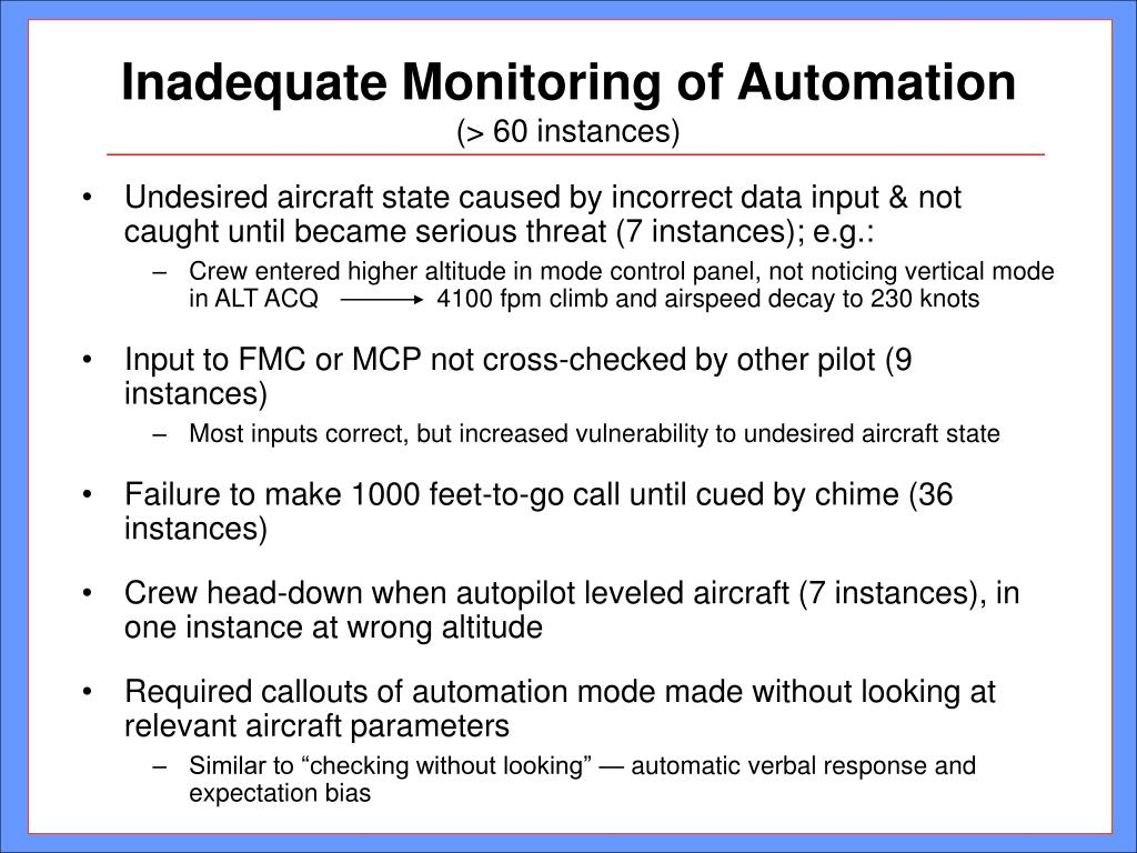 Inadequate Monitoring of Automation