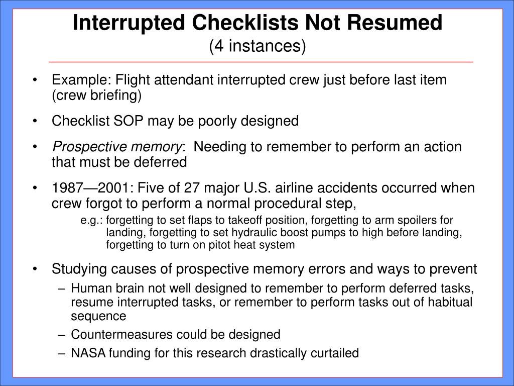 Interrupted Checklists Not Resumed