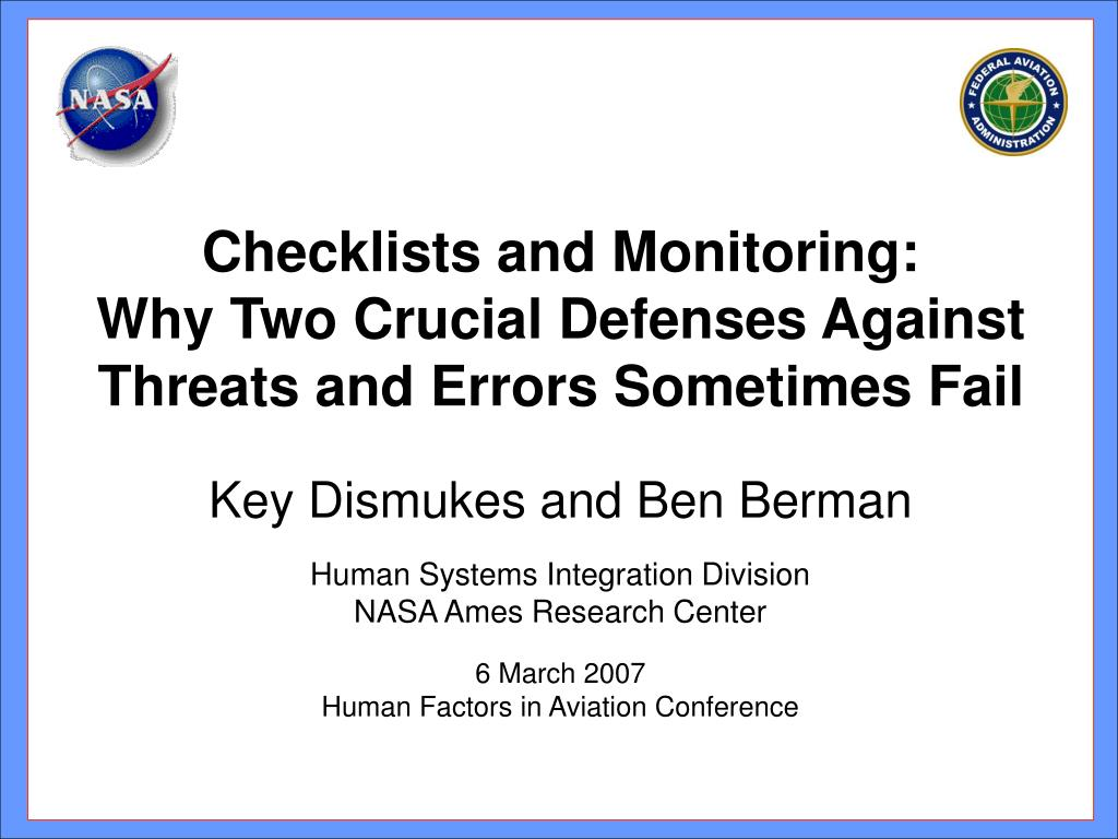 Checklists and Monitoring: