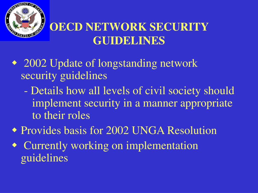 OECD NETWORK SECURITY GUIDELINES