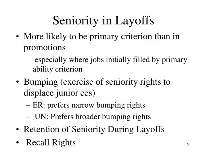 Seniority in Layoffs
