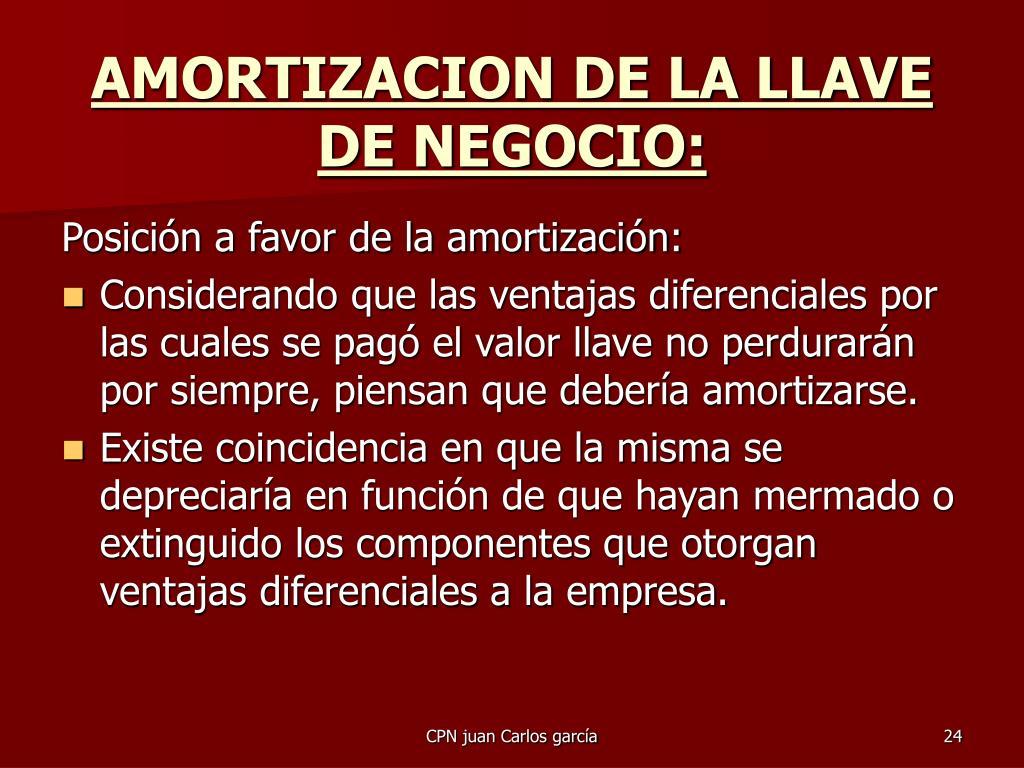 AMORTIZACION DE LA LLAVE DE NEGOCIO: