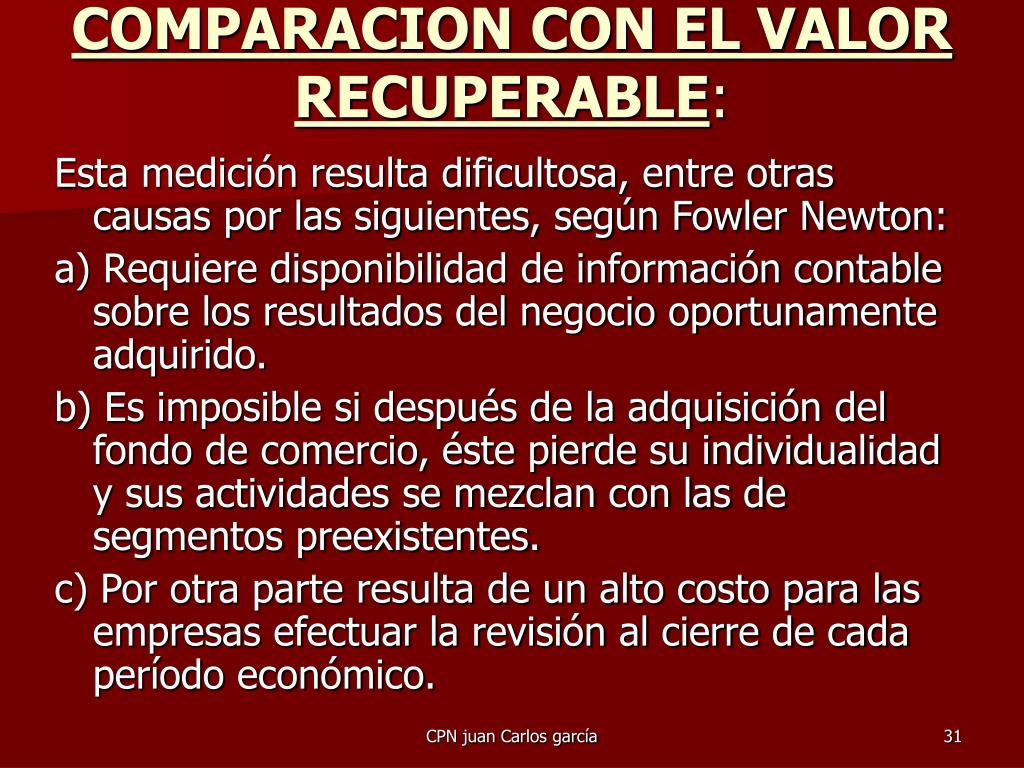 COMPARACION CON EL VALOR RECUPERABLE