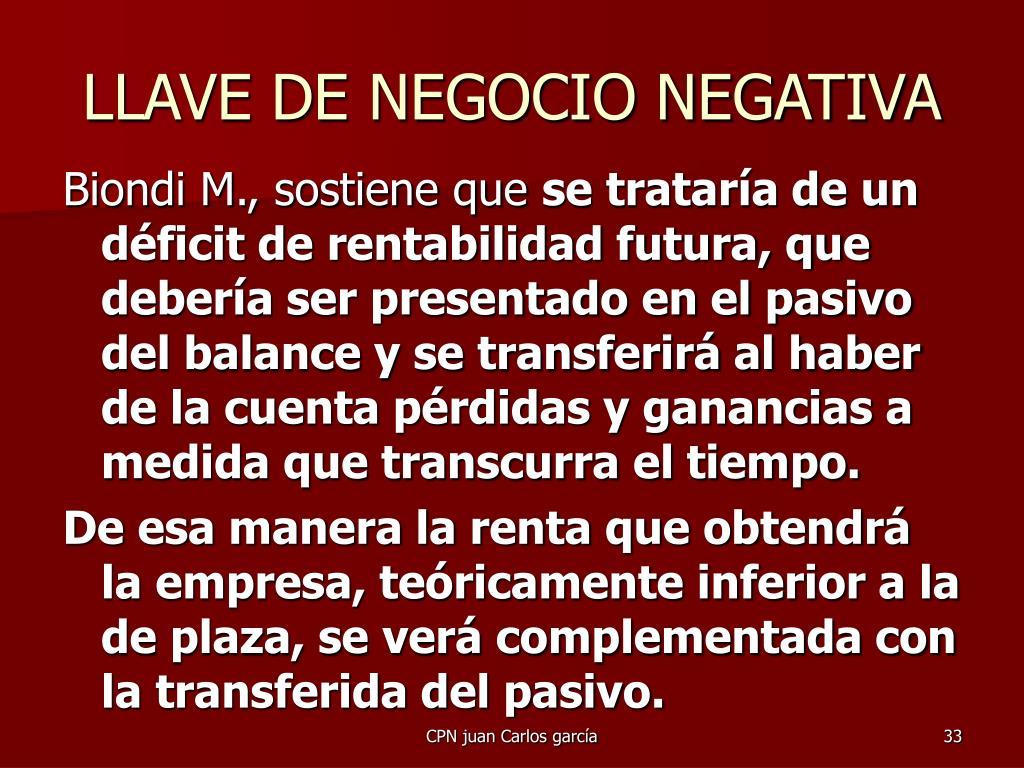 LLAVE DE NEGOCIO NEGATIVA