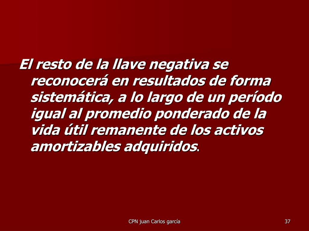 El resto de la llave negativa se reconocerá en resultados de forma sistemática, a lo largo de un período igual al promedio ponderado de la vida útil remanente de los activos amortizables adquiridos
