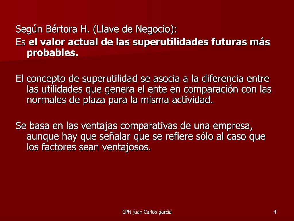 Según Bértora H. (Llave de Negocio):