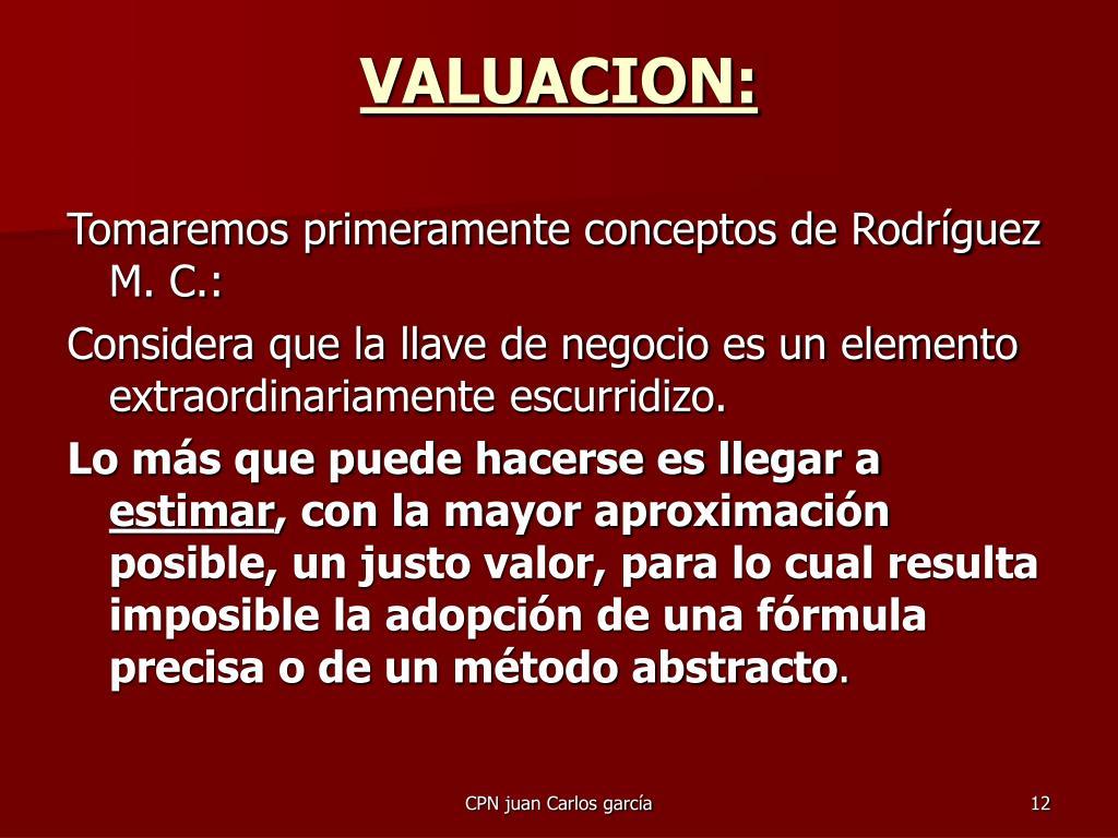 VALUACION: