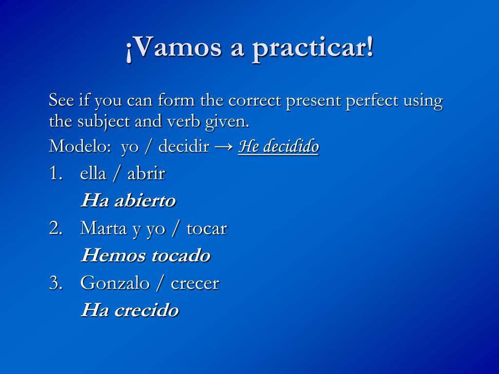 ¡Vamos a practicar!