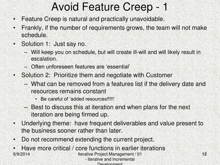 Avoid Feature Creep - 1