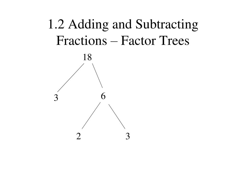 1.2 Adding and Subtracting Fractions – Factor Trees