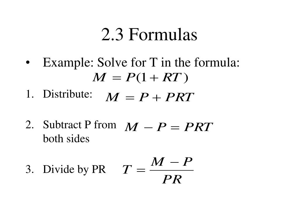 Example: Solve for T in the formula: