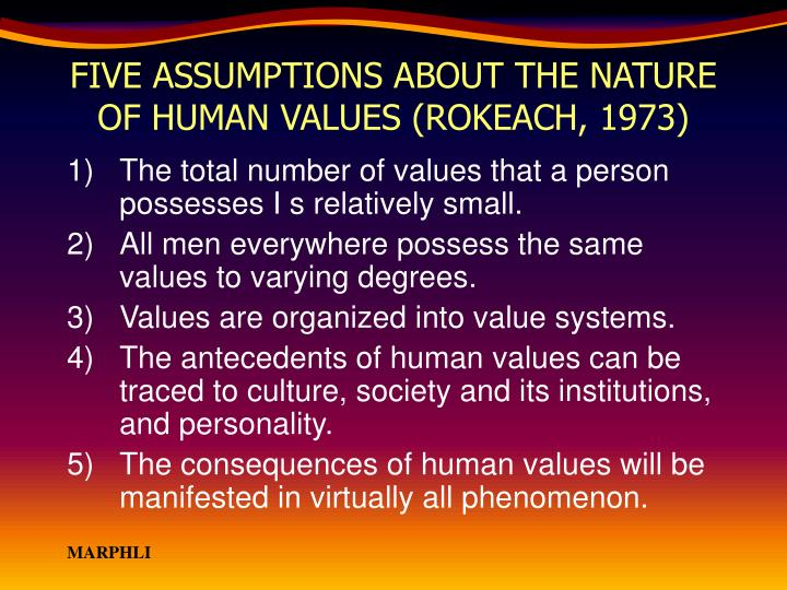 FIVE ASSUMPTIONS ABOUT THE NATURE OF HUMAN VALUES (ROKEACH, 1973)