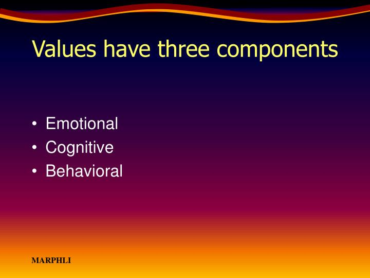 Values have three components