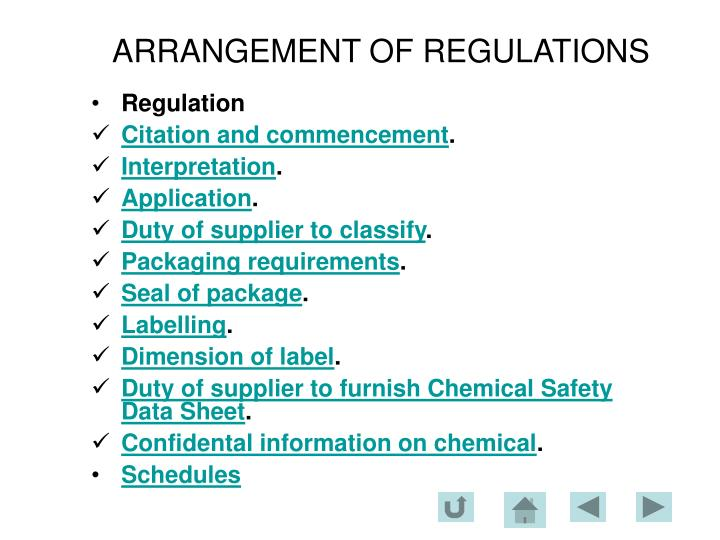 Arrangement of regulations