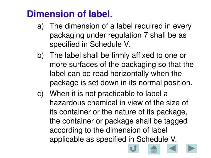 Dimension of label.