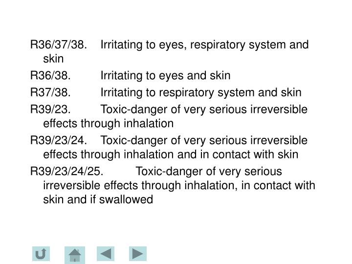 R36/37/38.	Irritating to eyes, respiratory system and skin