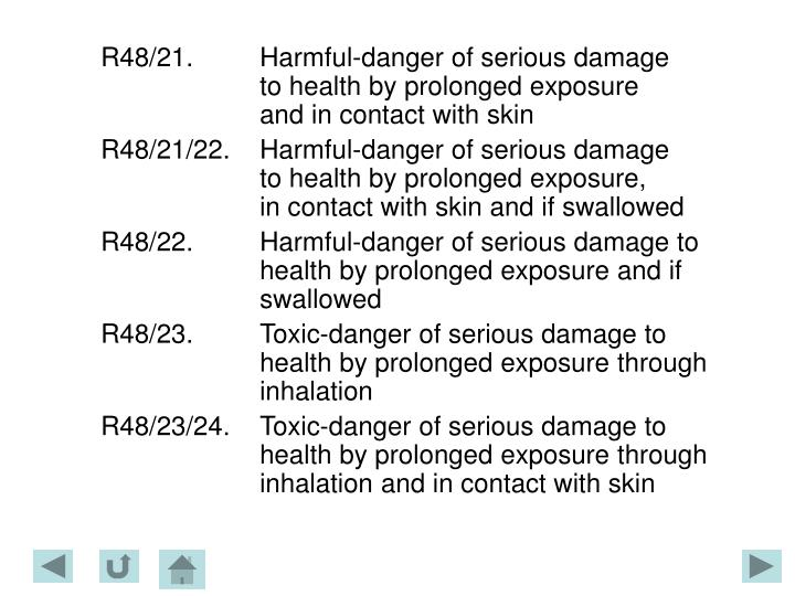 R48/21.Harmful-danger of serious damage to health by prolonged exposure and in contact with skin