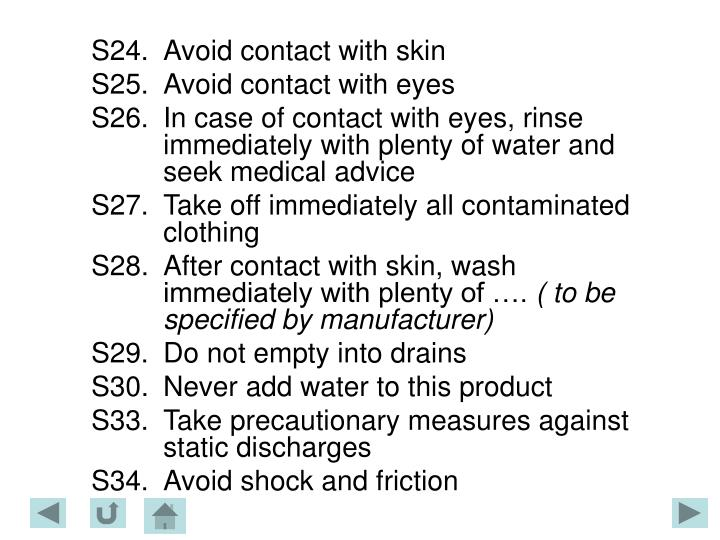 S24.	Avoid contact with skin