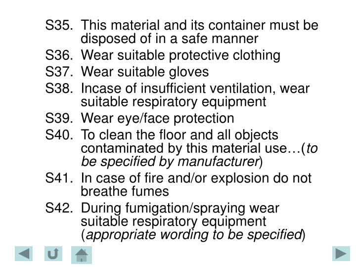 S35.This material and its container must be disposed of in a safe manner
