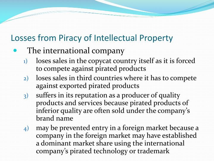 Losses from Piracy of Intellectual Property