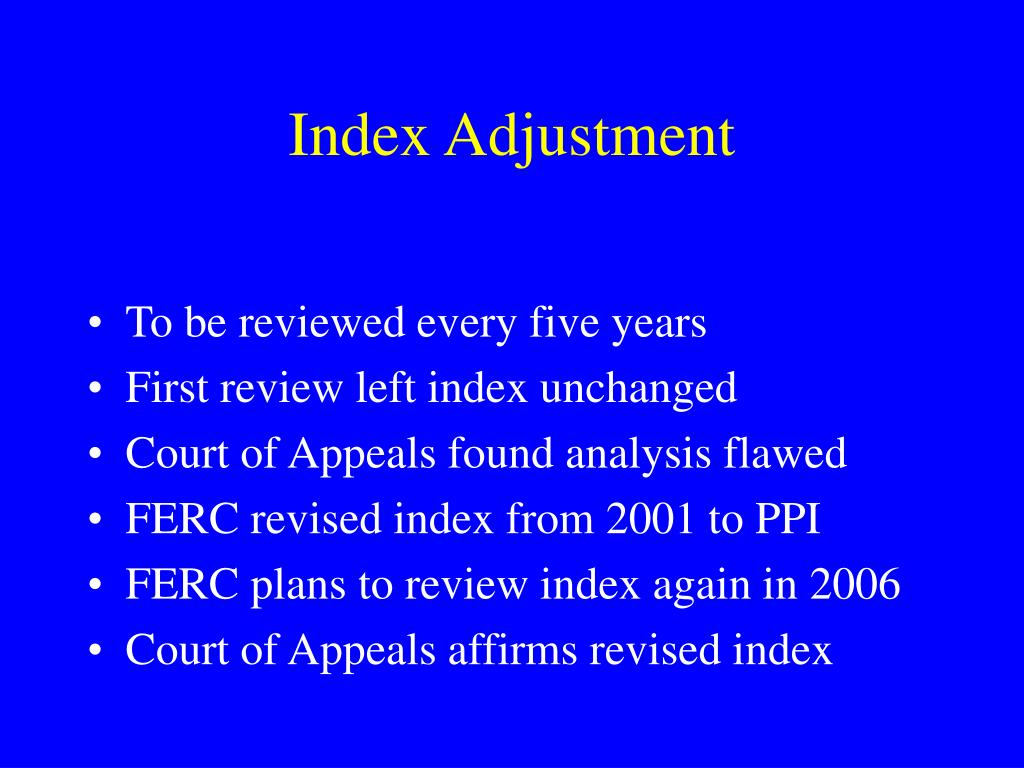 Index Adjustment