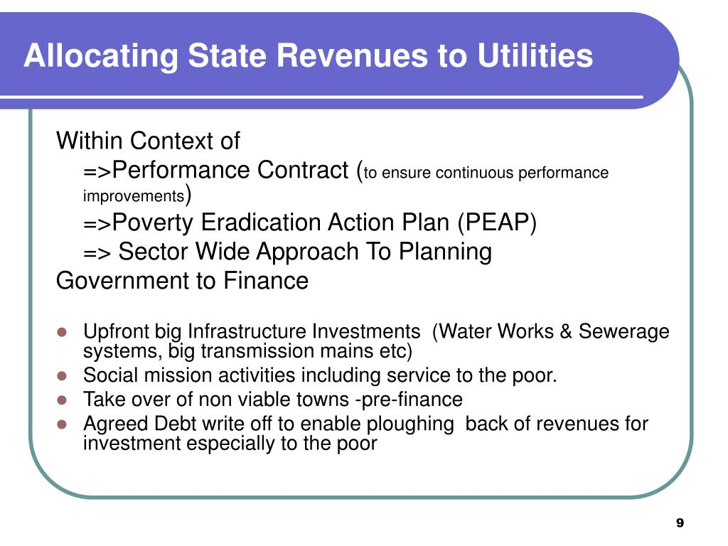 Allocating State Revenues to Utilities