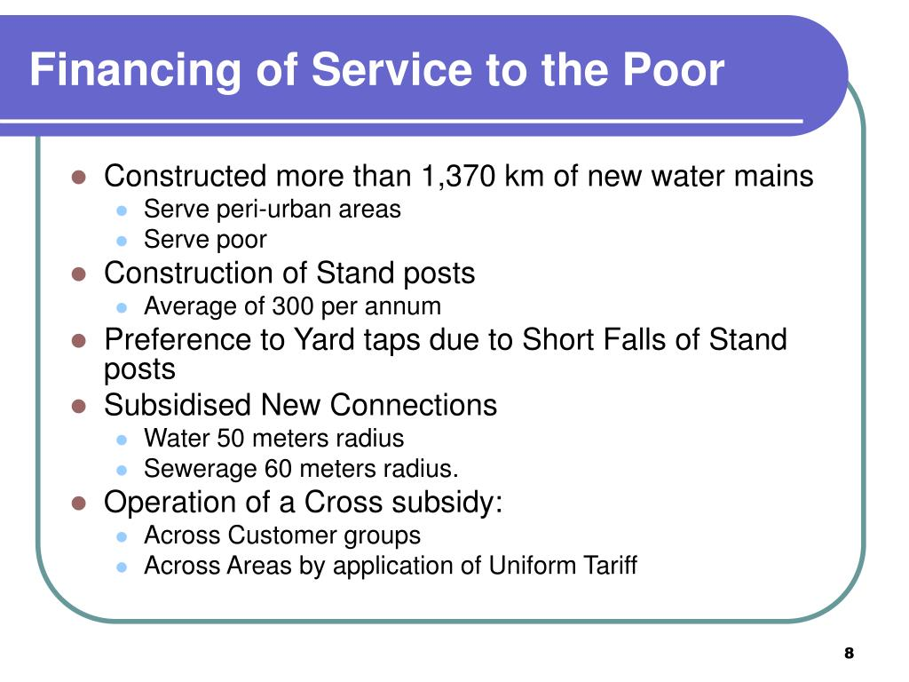 Financing of Service to the Poor