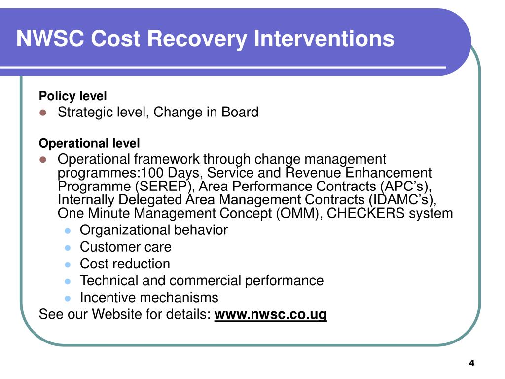 NWSC Cost Recovery Interventions