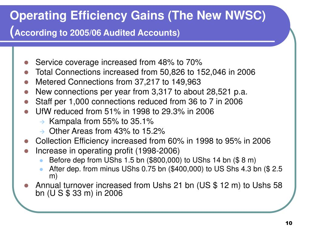 Operating Efficiency Gains (The New NWSC)