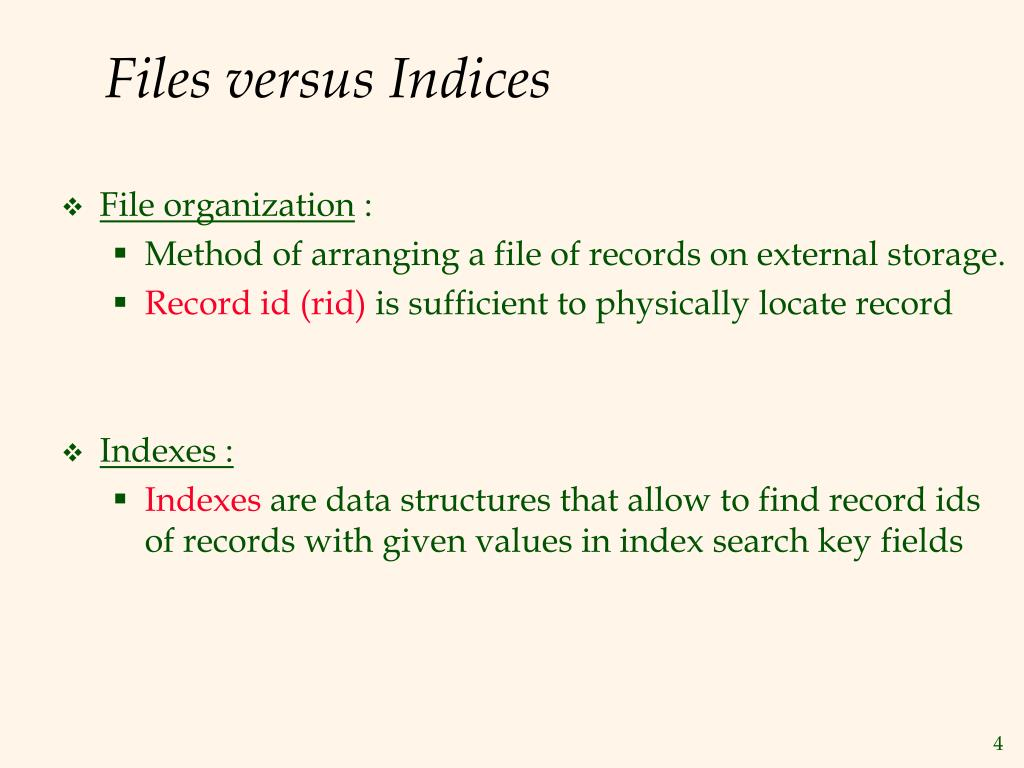 Files versus Indices