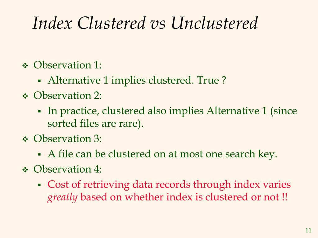 Index Clustered vs Unclustered