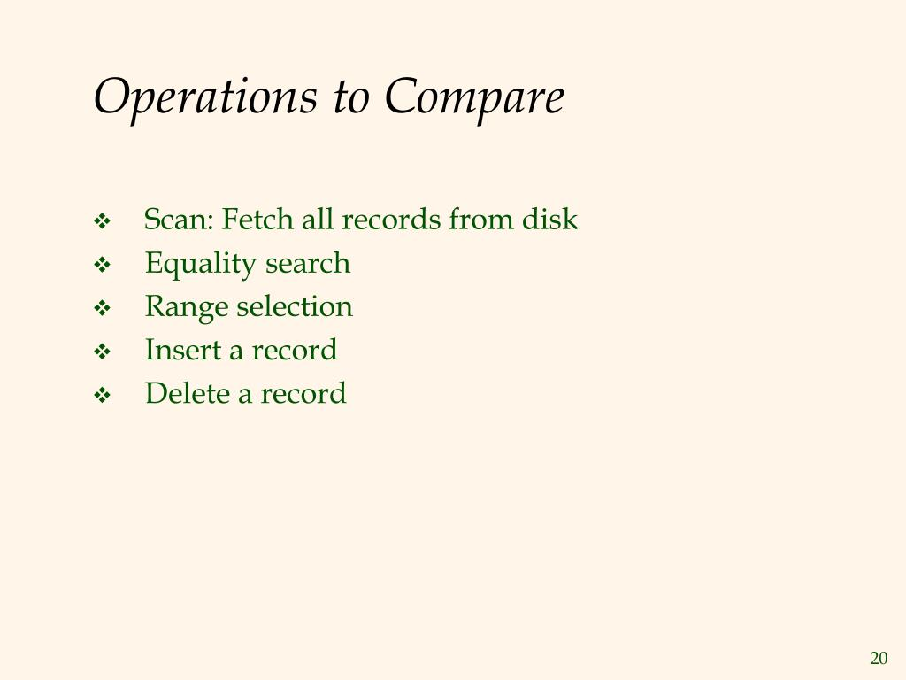 Operations to Compare