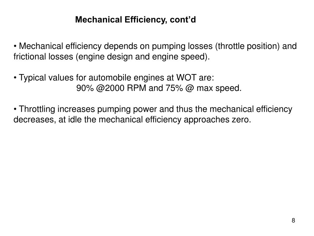 Mechanical Efficiency, cont'd
