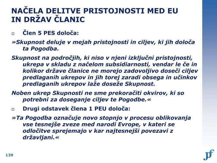 NAČELA DELITVE PRISTOJNOSTI MED EU IN DRŽAV ČLANIC