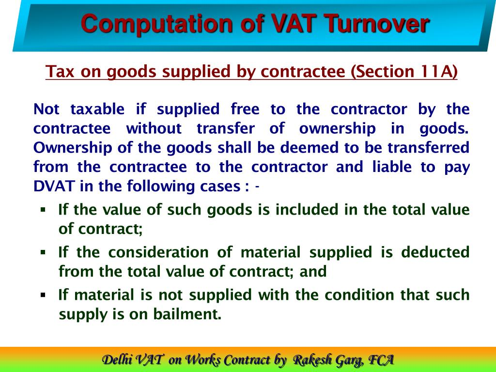 Computation of VAT Turnover