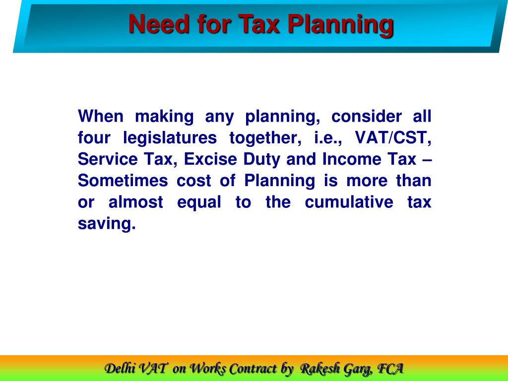 Need for Tax Planning