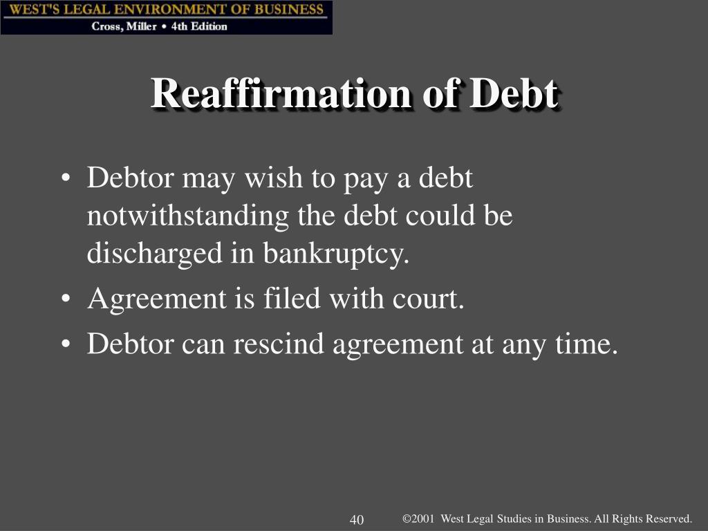 Reaffirmation of Debt