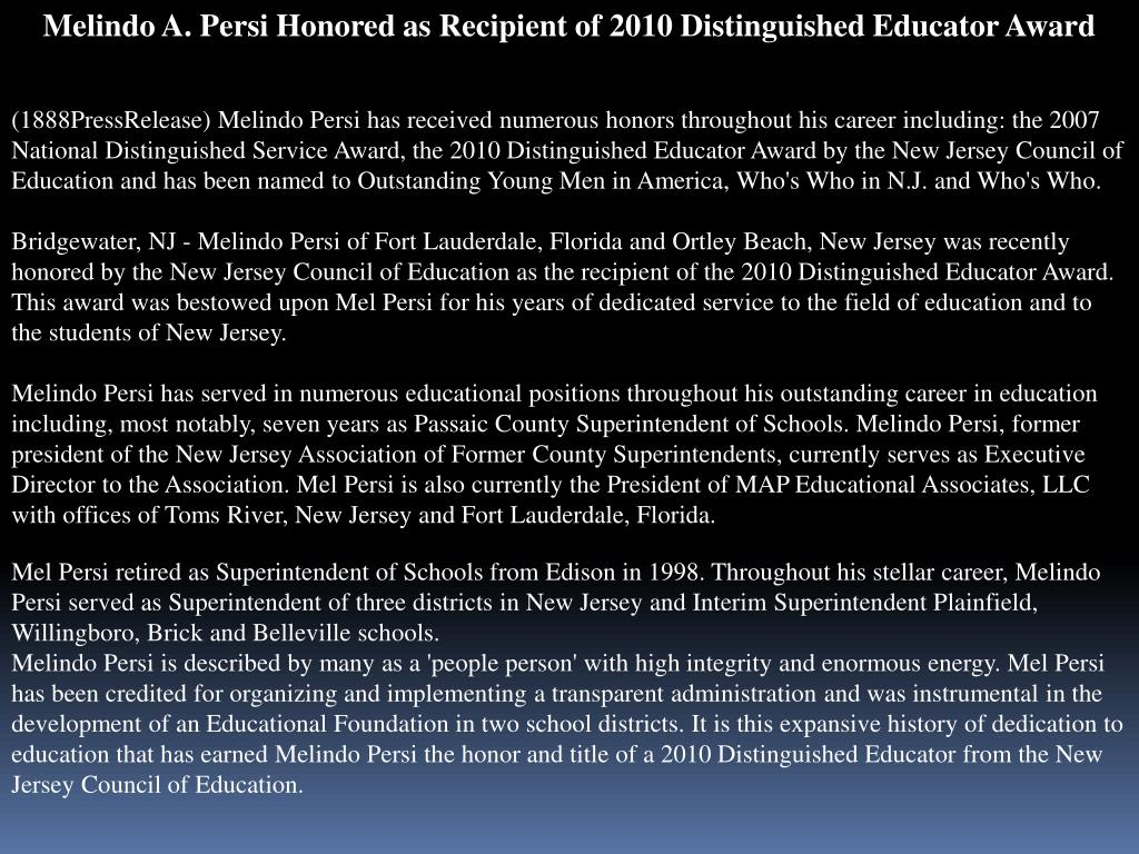 Melindo A. Persi Honored as Recipient of 2010 Distinguished Educator Award