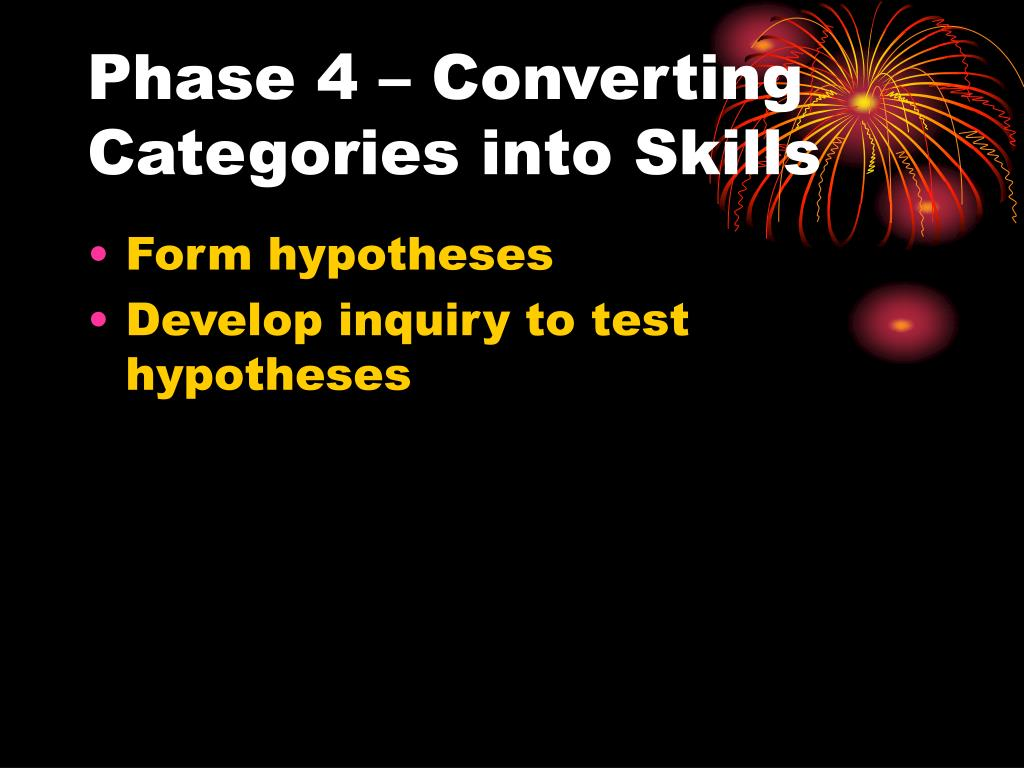 Phase 4 – Converting Categories into Skills