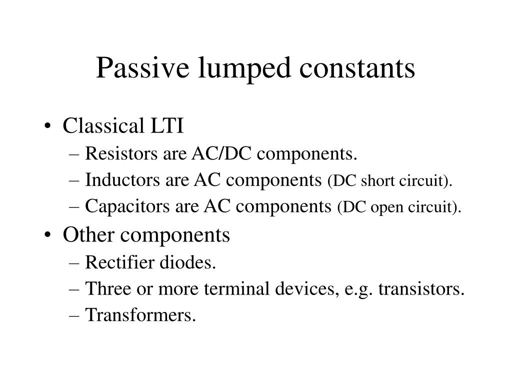 Passive lumped constants
